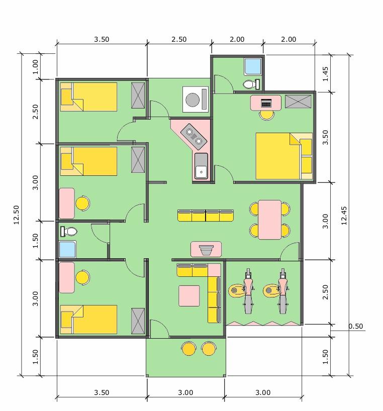 denah rumah ukuran tanah 6x9 1 lantai 4