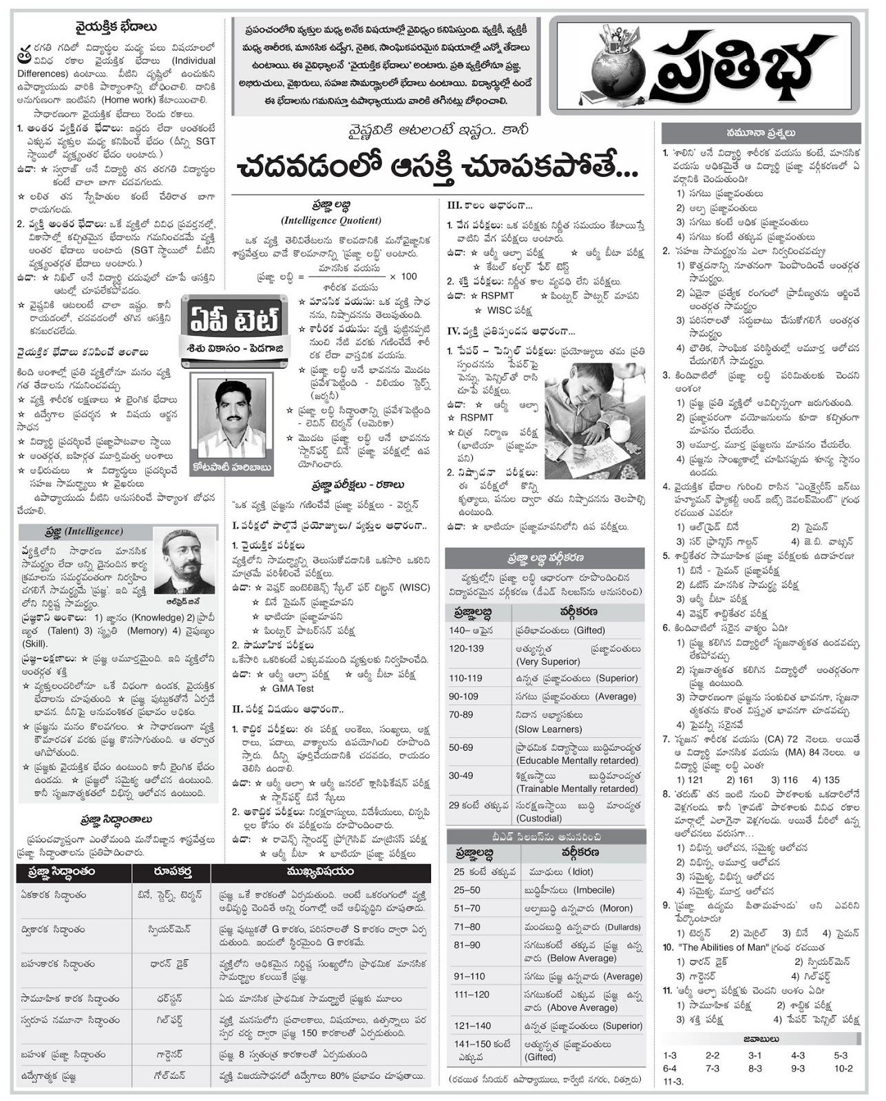Eenadu pratibha intermediate model papers
