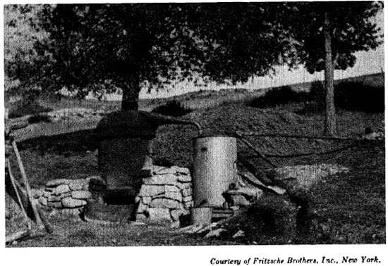 An old-fashioned direct fire still as used years ago for the distillation of lavender  in Southern France