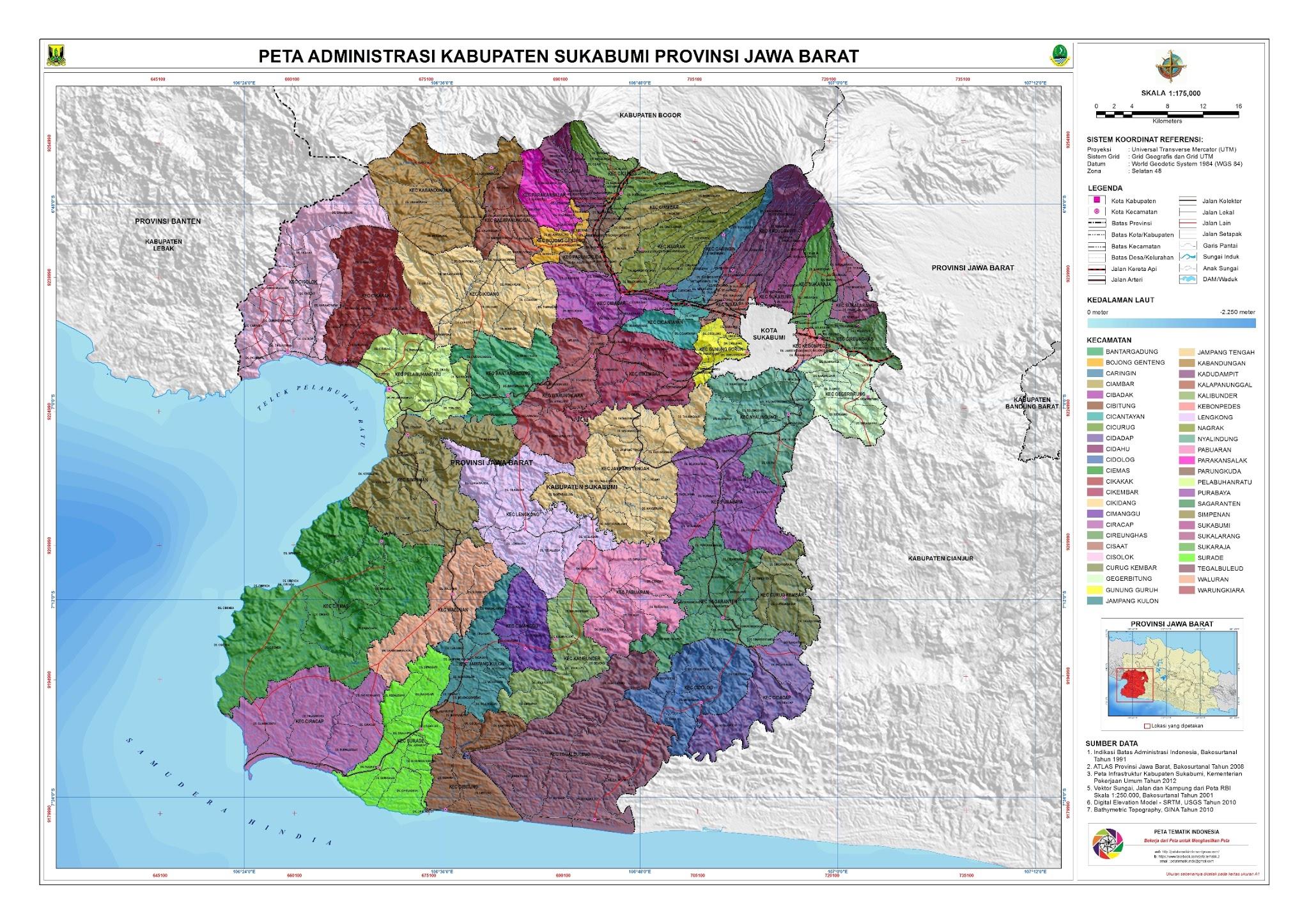 Peta Kota: Peta Kabupaten Sukabumi