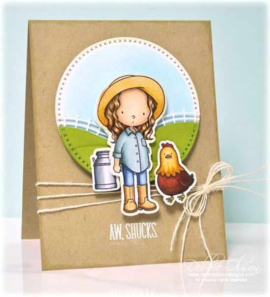 Aw, Shucks Card by Debbie Olson featuring the Birdie Brown Green Pastures and The Whole Herd stamp sets and Die-namics, and the Rolling Hills and Cross-Stitch Circle STAX Die-namics #mftstamps