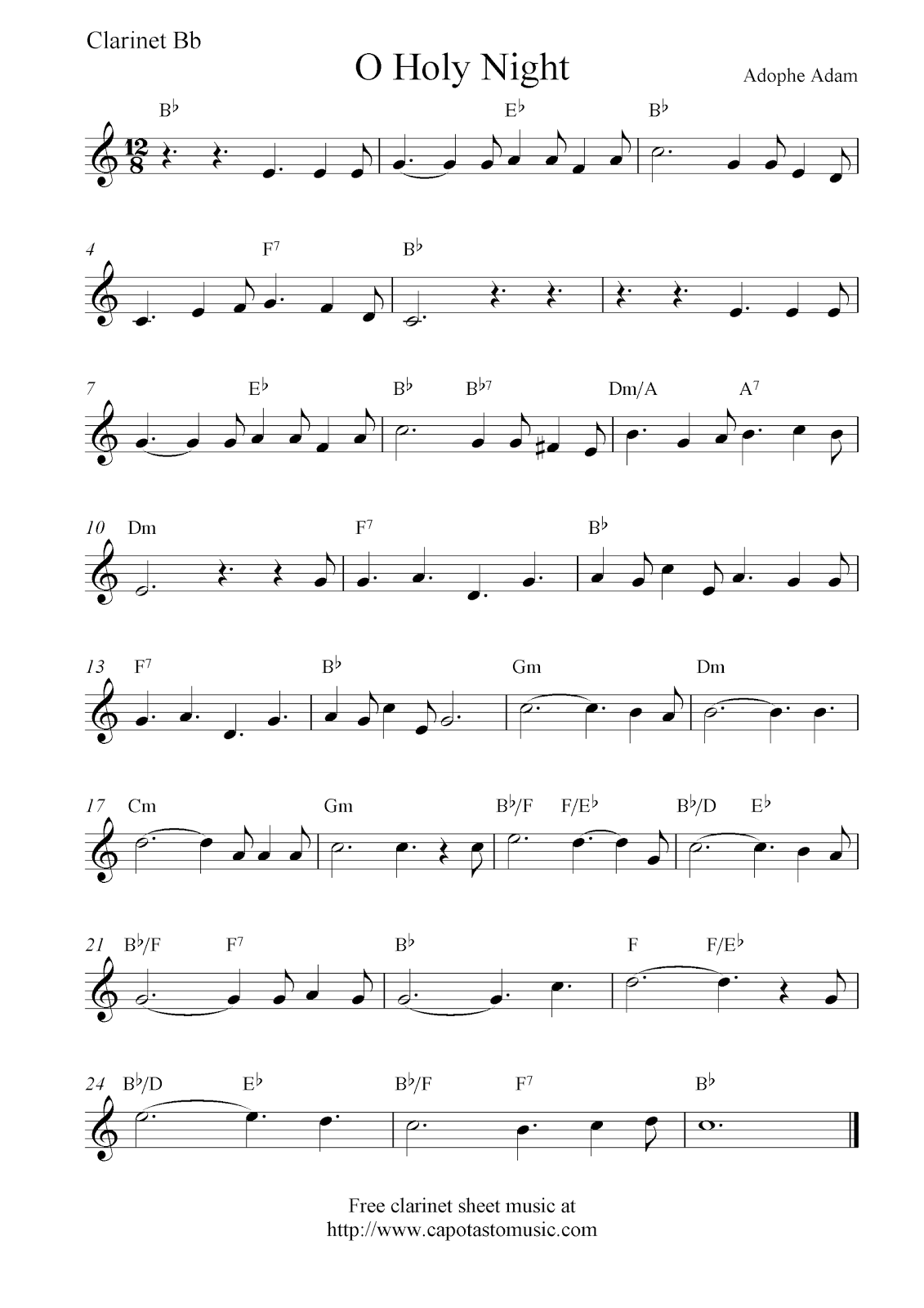 O Holy Night Free Christmas Clarinet Sheet Music Notes