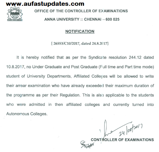 No Extension of Time for Writing Anna University Arrear Examinations