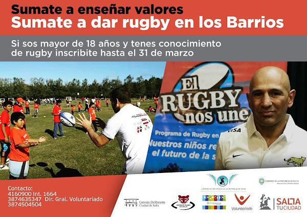 Rugby en los barrios: sumate como voluntario