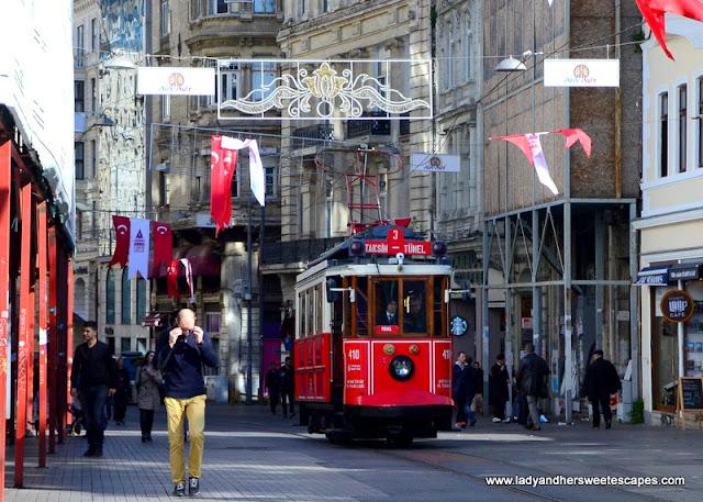 the Nostalgic Tram in Istiklal Caddesi