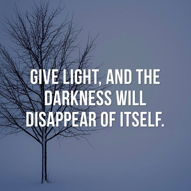 Give light, and the darkness will disappear of itself. - Good Quotes