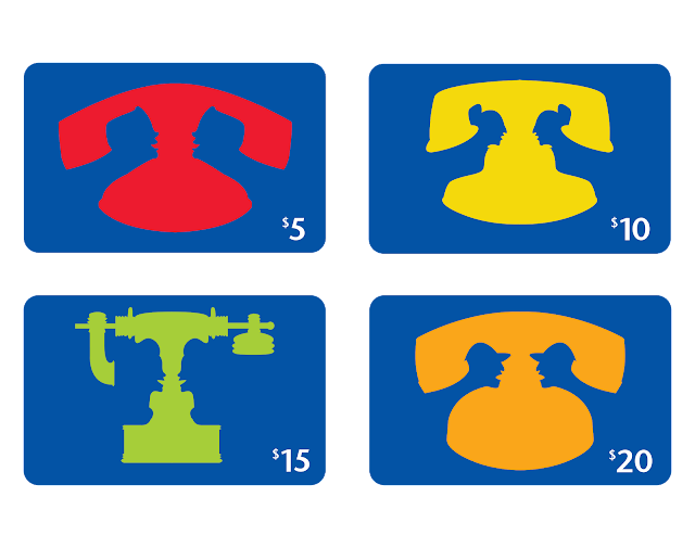 Blue phone cards with brightly coloured antique phones that also represent two people talking