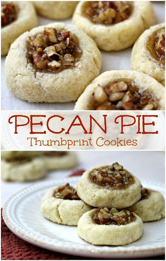 Pecan Thumbprint Cookies #cookies #cookierecipes #easycookierecipes #pecan #pie #pecanpie #thumbprint
