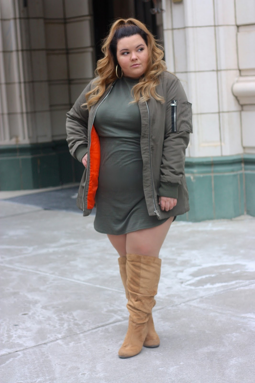 natalie in the city, military green bomber, hunter orange and military green, bomber, fashion blogger, knee high suede boots wide calf, knee high boots plus size, plus size fashion blogger, chicago, forever 21 plus, natalie craig, bottle blonde