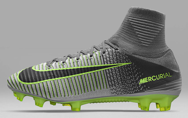 2e96bb6366a The Nike Mercurial 2016-2017 Elite Pack cleat ffades from light grey in the  forefoot area to dark grey in the rear area. Nike combines the silver upper  with ...