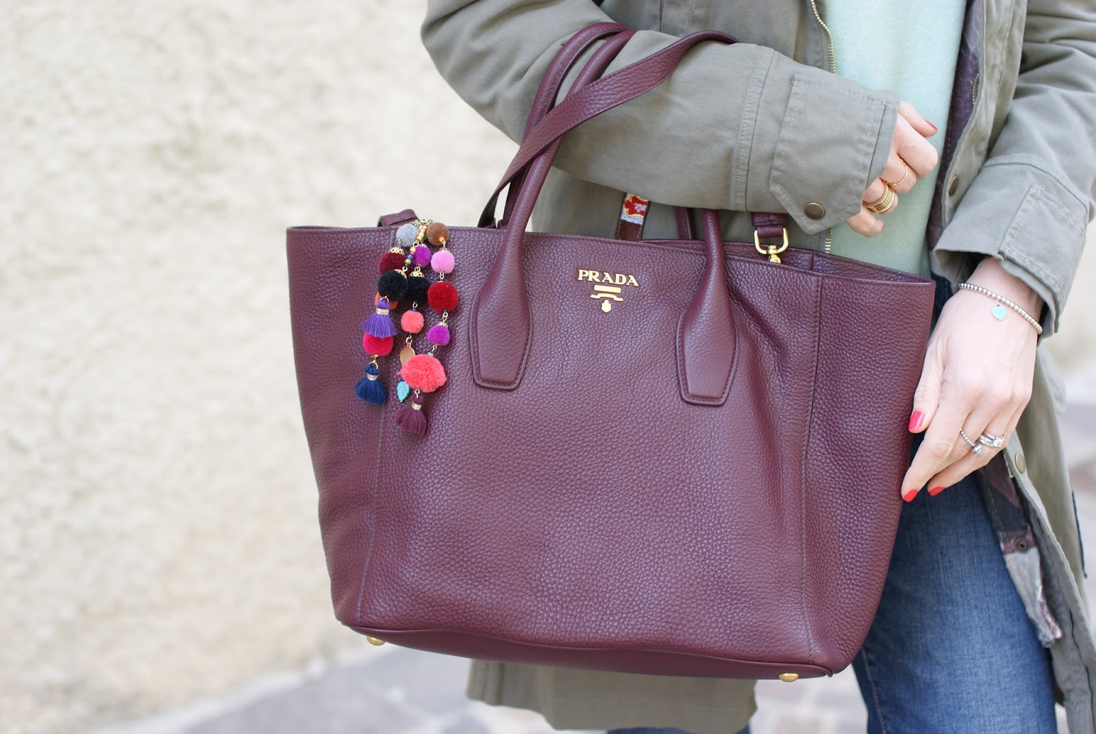 Prada burgundy tote on Fashion and Cookies fashion blog, fashion blogger style