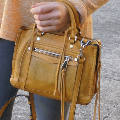 grey skinnies, Rebecca Minkoff micro Regan satchel in Harvest Gold | away from the blue