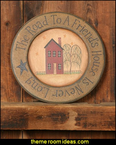 Primitive Plate primitive americana decorating style - folk art - heartland decor - rustic Americana home decor - Colonial & Country style decorating Americana bedroom designs - Primitive Country Rustic decor
