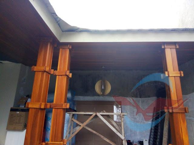 Project pemasangan Plafon kayu Ulin di Kotabaru Parahyangan
