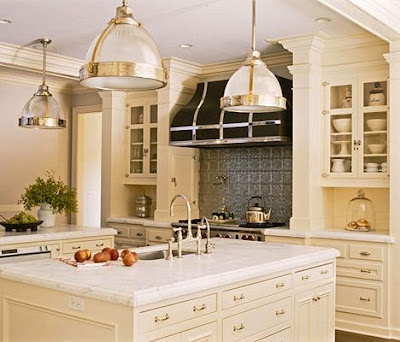 ivory cabinets white marble kitchen black hood