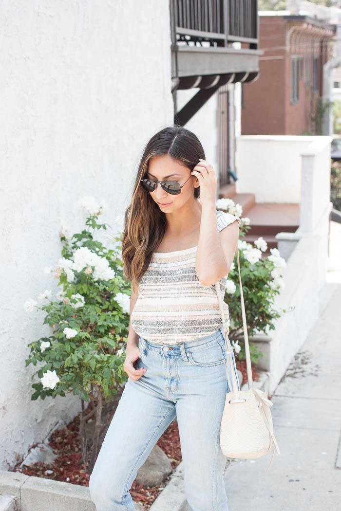 cute stripe tank, light washed jeans