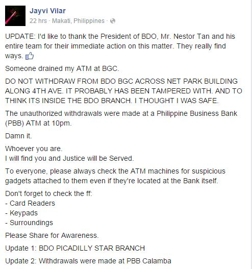 BDO alleged ATM scam BGC