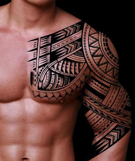 Tribal Tattoos For Men on Chest & Shoulder