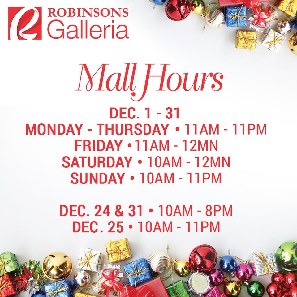 Manila Shopper: Holiday 2017 Schedule of Malls, Supermarkets ...