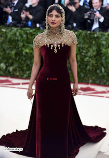 Priyanka Chopra in Maroon Velvet Gown at 2018 MET Costume Insute Gala ~ Exclusive 03