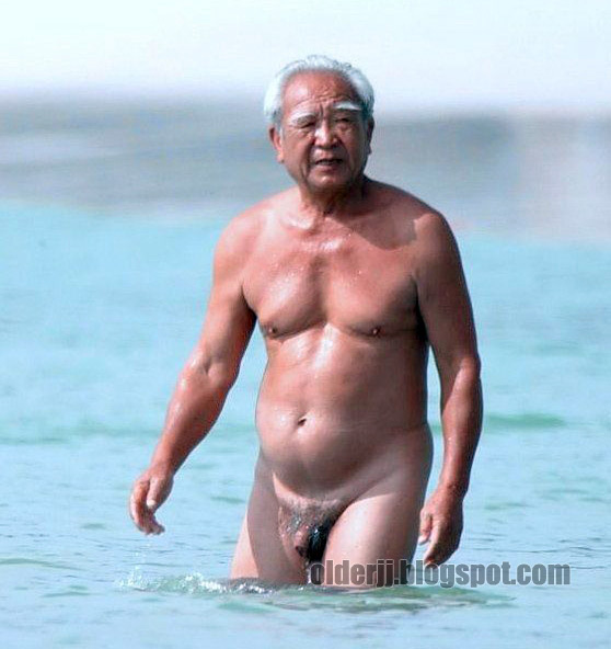 Love Old Man Silver Grandpa Naked On The Beach-8775