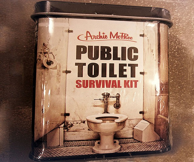 Don't venture into another cesspool of filth – otherwise known as public bathrooms – without the public toilet survival kit. This handy kit includes everything you need to make it through the unpleasant ordeal without catching any weird and unwanted diseases.