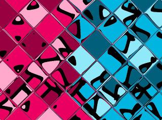 Mosaik mit Magenta und Cyan und Kacheleffekt