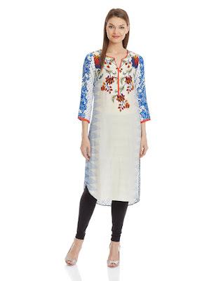 Biba Knee long Straight White and Blue Floral Print Kurta
