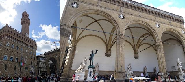 Viaje a Florencia: Plaza de la Signoria, con el palacio viejo y galería de estatuas