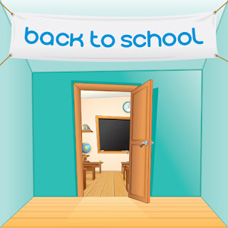 Clipart image of an open classroom door under the words back to school