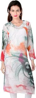 Georgette White Digital Print Kurti from Ladybond