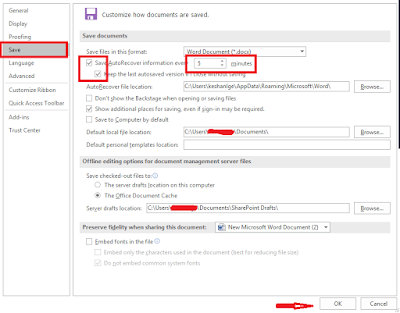 How to Turn on and Set Auto save in Word/Excel 2016