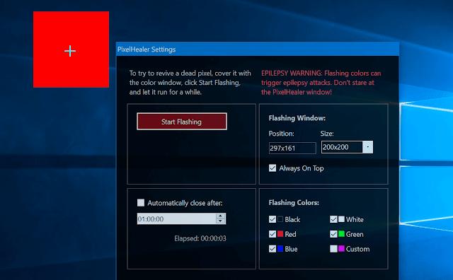PixelHealer - Programma gratuito che ti aiuta a riparare e rilevare pixel morti o difettosi