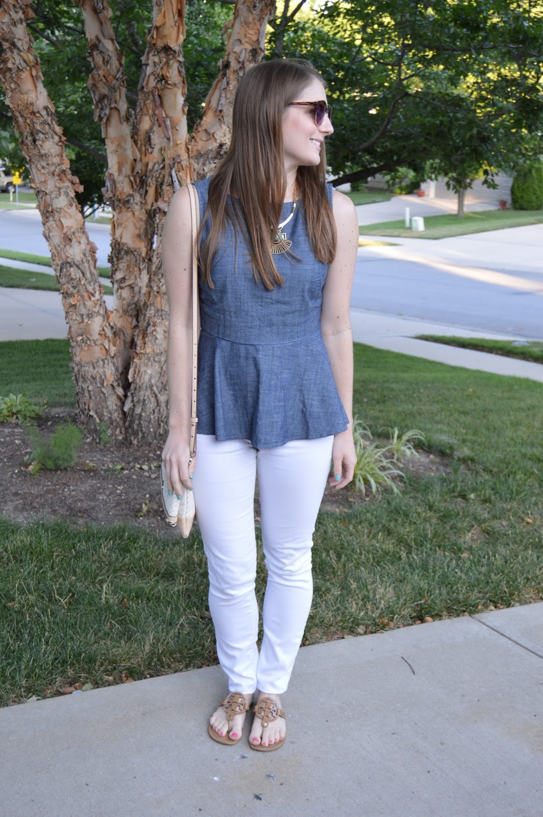 chambray peplum top for summer | what to wear this summer | summer outfit ideas | a memory of us