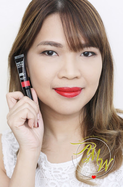 a photo of askmewhats nikki tiu Make Up For Ever Fuchsia Pink (201) Artist Acrylip and Make Up For Ever Iconic Red (400) Artist Acrylip