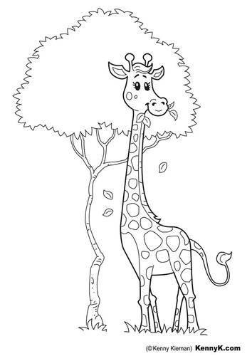 Giraffe coloring pages animal pictures for Coloring page giraffe