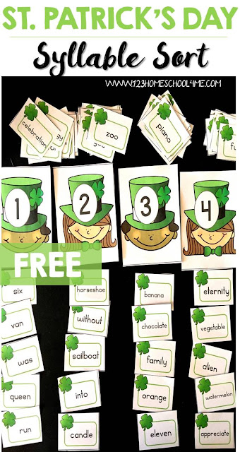 FREE St Patricks Day Syllable Sort - this is such a fun way for kindergarten, 1st grade, and 2nd grade kids to practice identifying 1-4 syllables. (homeschool, st. patricks day centers)