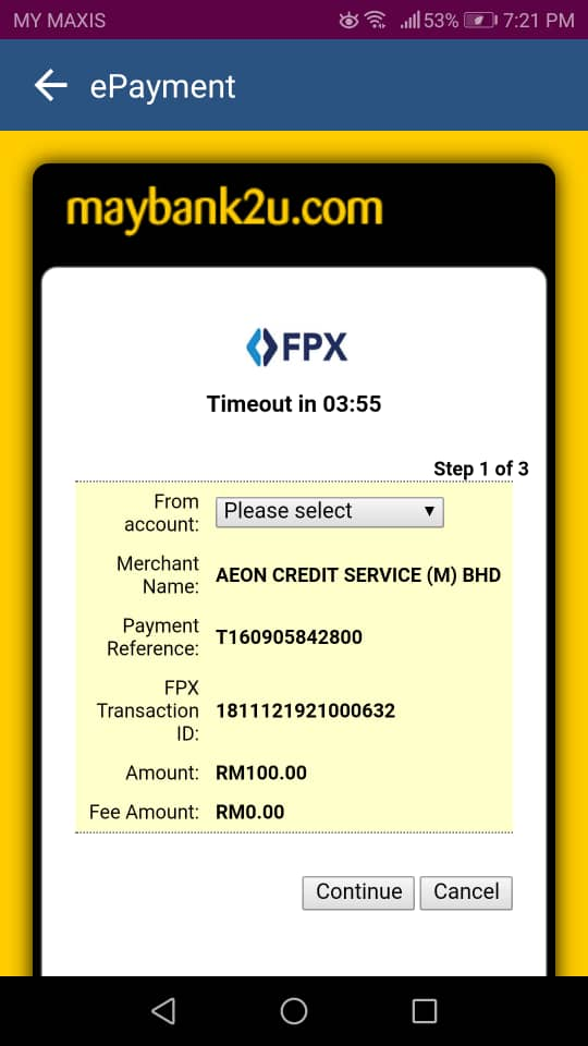 Top-up AEON Card: FPX Transfer