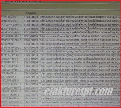 Upload Faktur Reject ETAX-30034 Tidak dapat melakukan Signing Data