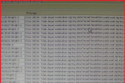 Upload Faktur Reject Error ETAX-30034 : Tidak Dapat Melakukan Signing Data