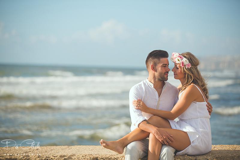 pareja romántica en la playa