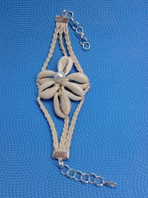 bransoletka sznurki plecione muszelki