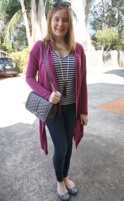 Away From Blue | Stripe Tee purple cardi Jeanswest Prima Denim skinny jeans RM Love