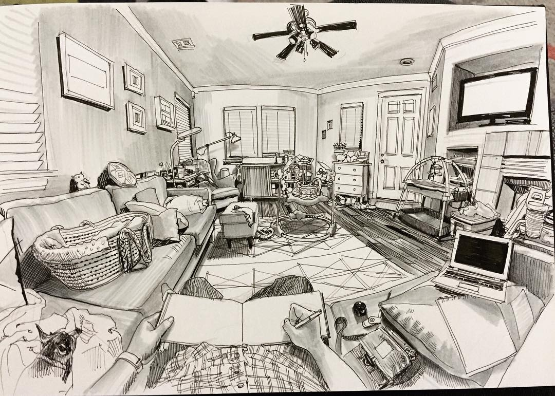 13-Living-Room-Paul-Heaston-Urban-Sketcher-Inserts-Himself-in-the-Drawing-www-designstack-co
