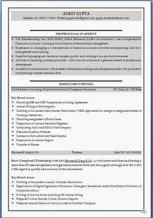 Company Secretary Profile Resume