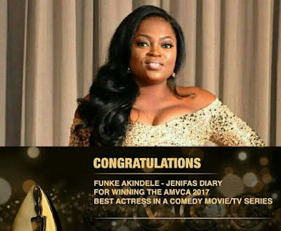 funke akindele wins awards amvca 2017