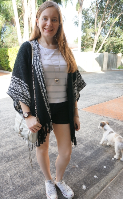 Rebecca Minkoff Ruana poncho in monochrome shorts and tee outfit print mixing with foil stripes | awayfromblue