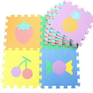 10 pcs 30cm x 30cm Fruit Mat EVA Foam Floor Puzzle