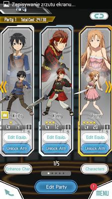 Screen z gry Sword Art Online: Memory Defrag - Formowanie drużyny