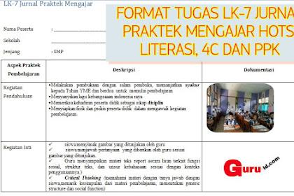Contoh LK-7 Jurnal Praktek Mengajar Guru k13 | Hots, 4c, Literasi, PPK
